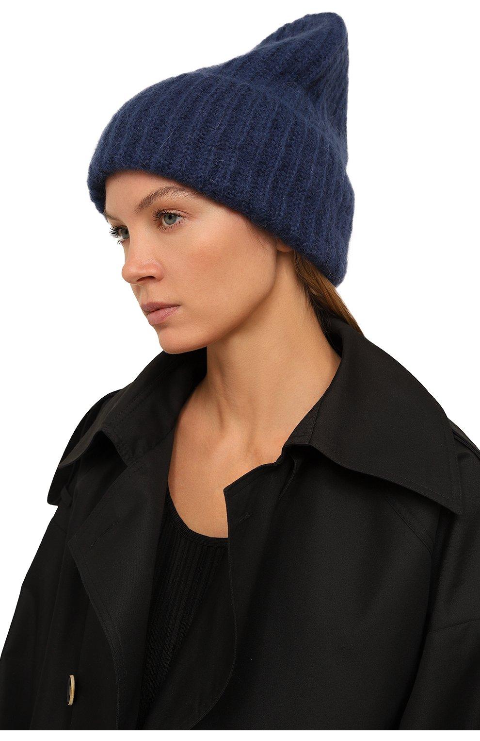 Женская шапка TAK.ORI темно-синего цвета, арт. AC043MW018PF17 | Фото 2 (Материал: Текстиль, Шерсть, Синтетический материал)