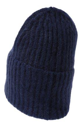 Женская шапка TAK.ORI темно-синего цвета, арт. AC043MW018PF17 | Фото 3 (Материал: Текстиль, Шерсть, Синтетический материал)