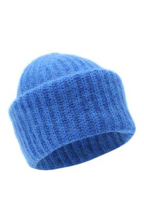 Женская шапка TAK.ORI синего цвета, арт. AC043MW018PF17 | Фото 1 (Материал: Шерсть, Текстиль, Синтетический материал)