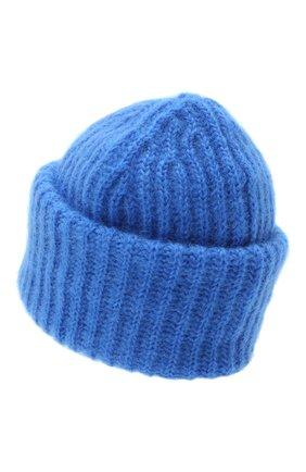 Женская шапка TAK.ORI синего цвета, арт. AC043MW018PF17 | Фото 2 (Материал: Шерсть, Текстиль, Синтетический материал)