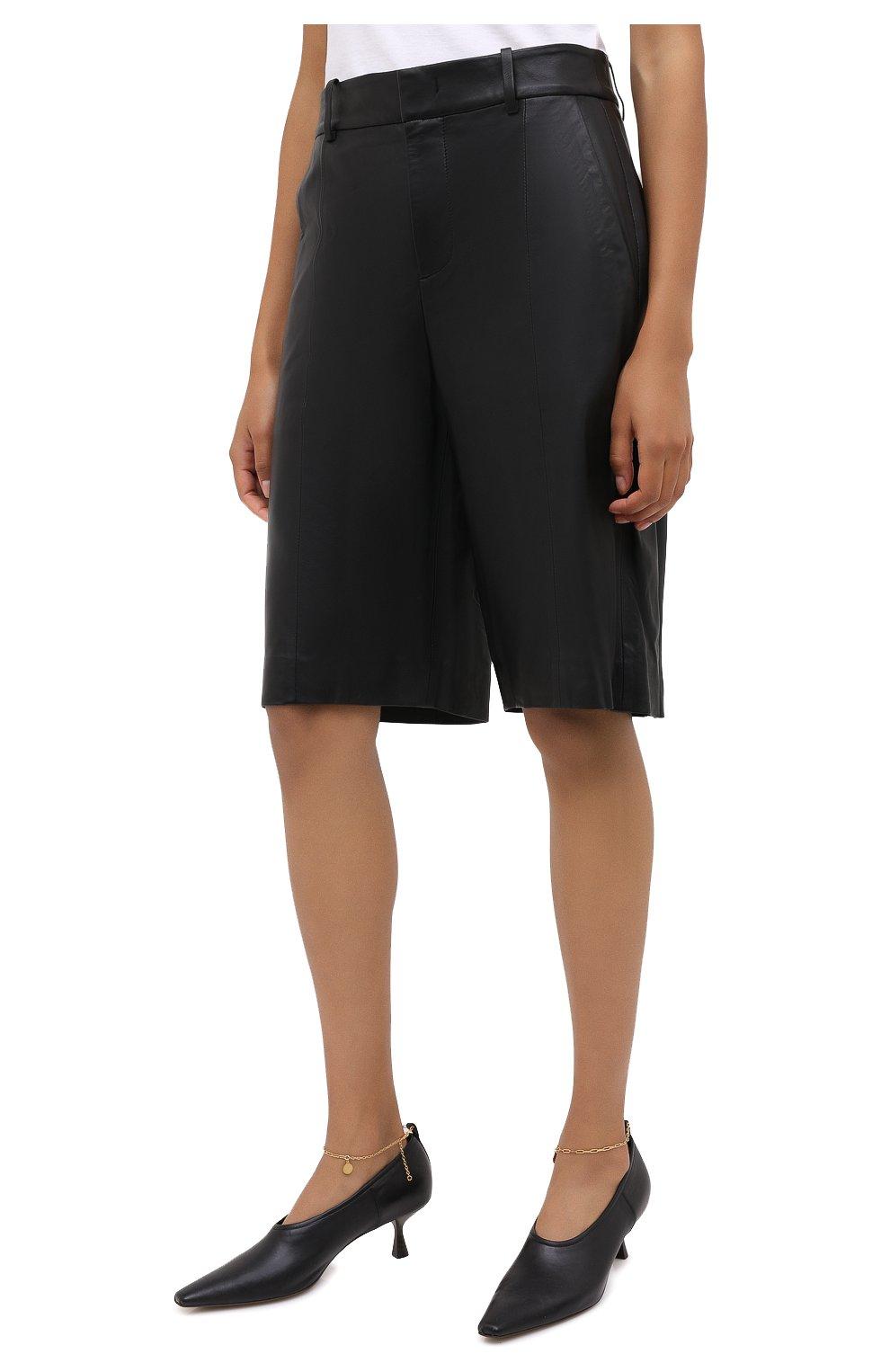 Женские кожаные шорты VINCE черного цвета, арт. V682121808   Фото 4