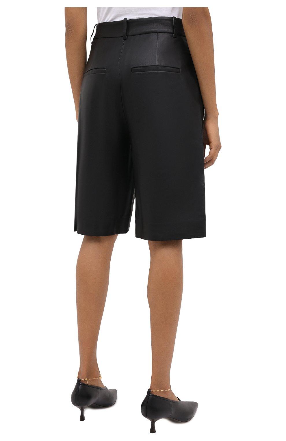 Женские кожаные шорты VINCE черного цвета, арт. V682121808   Фото 5