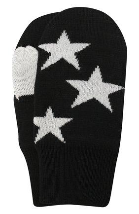Детские варежки snowfall MOLO черного цвета, арт. 7W20S104   Фото 1 (Материал: Текстиль, Шерсть)