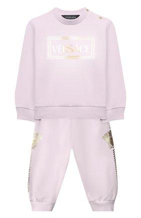 Детский комплект из свитшота и брюк VERSACE светло-розового цвета, арт. YE000185/YA00077 | Фото 1