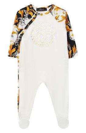 Детский хлопковый комбинезон VERSACE белого цвета, арт. YE000201/YA00019 | Фото 1