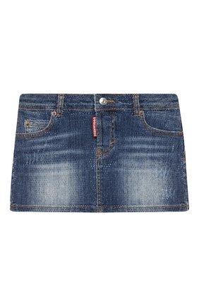 Детская джинсовая юбка DSQUARED2 синего цвета, арт. DQ01W4-D002A   Фото 1