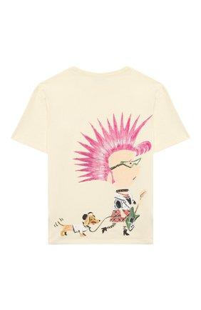 Детская хлопковая футболка GUCCI белого цвета, арт. 580991/XJCTH | Фото 2