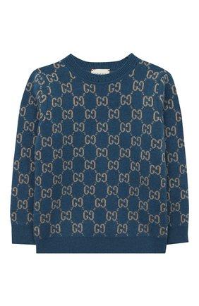 Детский шерстяной пуловер GUCCI голубого цвета, арт. 615384/XKBD7 | Фото 1