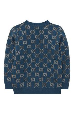 Детский шерстяной пуловер GUCCI голубого цвета, арт. 615384/XKBD7 | Фото 2