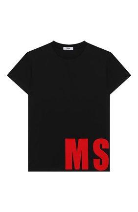 Детская хлопковая футболка MSGM KIDS черного цвета, арт. 025652 | Фото 1