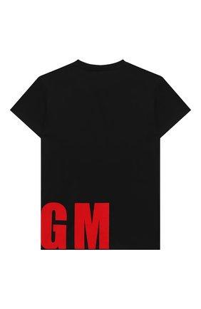 Детская хлопковая футболка MSGM KIDS черного цвета, арт. 025652 | Фото 2
