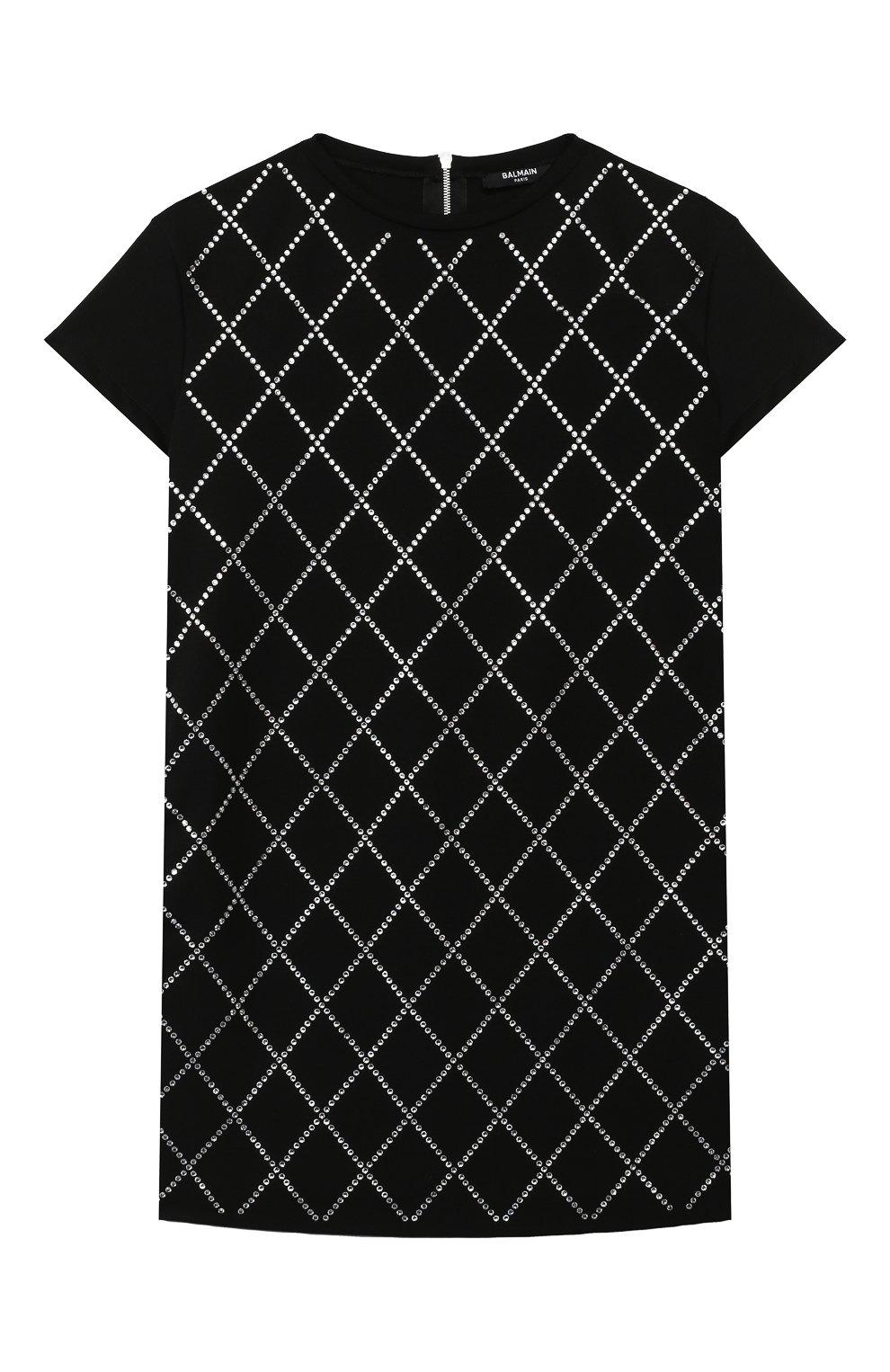 Детское платье BALMAIN черного цвета, арт. 6N1151/NC660/4-10 | Фото 1 (Рукава: Короткие; Случай: Повседневный; Материал внешний: Лиоцелл; Девочки Кросс-КТ: Платье-одежда)