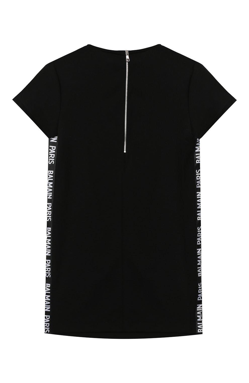 Детское платье BALMAIN черного цвета, арт. 6N1151/NC660/4-10 | Фото 2 (Рукава: Короткие; Случай: Повседневный; Материал внешний: Лиоцелл; Девочки Кросс-КТ: Платье-одежда)