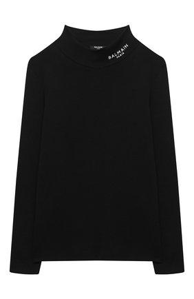 Детская хлопковая водолазка BALMAIN черного цвета, арт. 6N9570/NF280/12-16   Фото 1