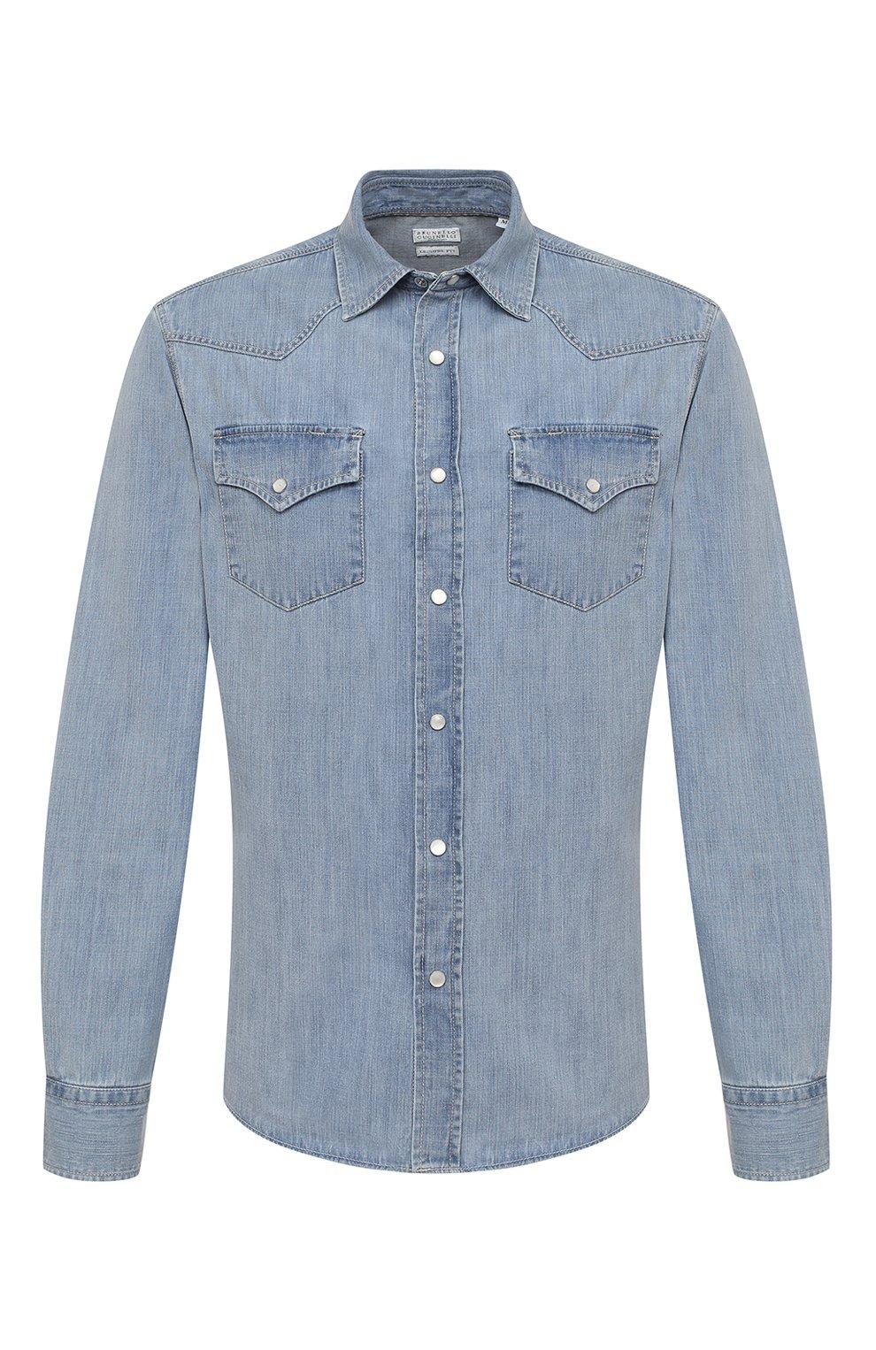 Мужская джинсовая рубашка BRUNELLO CUCINELLI голубого цвета, арт. ME6454078 | Фото 1