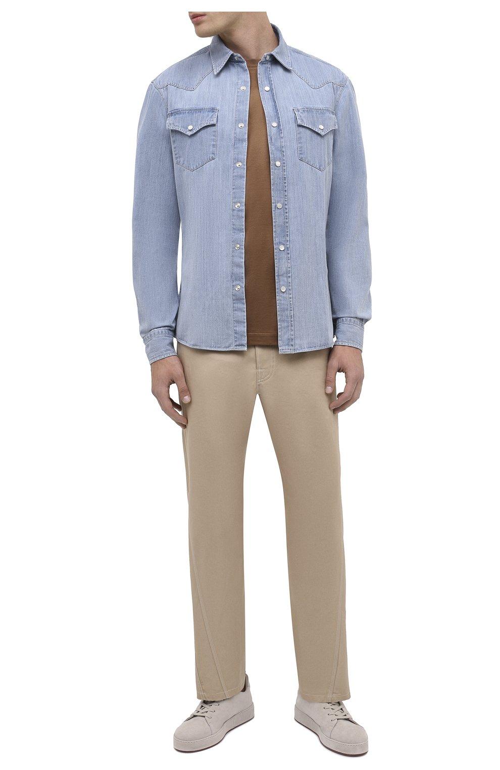 Мужская джинсовая рубашка BRUNELLO CUCINELLI голубого цвета, арт. ME6454078 | Фото 2