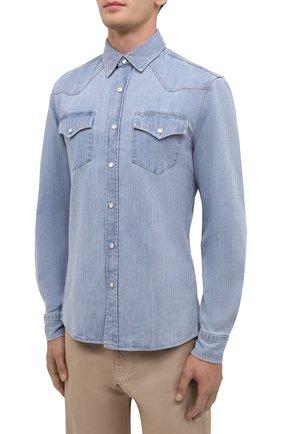 Мужская джинсовая рубашка BRUNELLO CUCINELLI голубого цвета, арт. ME6454078 | Фото 3