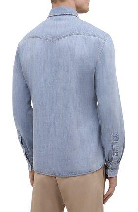 Мужская джинсовая рубашка BRUNELLO CUCINELLI голубого цвета, арт. ME6454078 | Фото 4