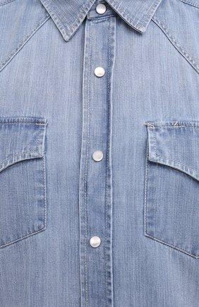 Мужская джинсовая рубашка BRUNELLO CUCINELLI голубого цвета, арт. ME6454078 | Фото 5