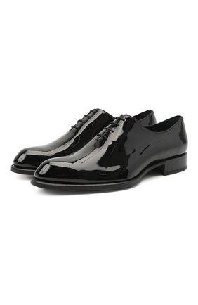 Мужские кожаные оксфорды BRIONI черного цвета, арт. QEF80L/09707 | Фото 1