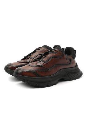 Мужские кожаные кроссовки BERLUTI темно-коричневого цвета, арт. S5223-007 | Фото 1