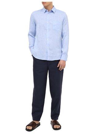 Мужской льняные брюки DEREK ROSE синего цвета, арт. 9800-SYDN002 | Фото 2