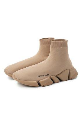 Мужские текстильные кроссовки speed 2.0 BALENCIAGA бежевого цвета, арт. 617239/W1701 | Фото 1