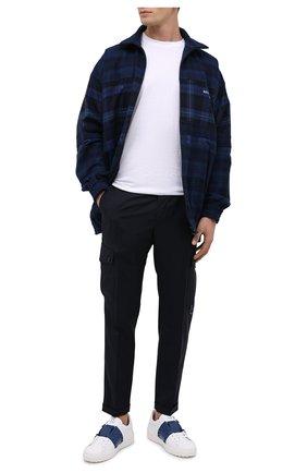Мужские кожаные кеды valentino garavani rockstud untitled VALENTINO темно-синего цвета, арт. UY2S0931/LTU | Фото 2