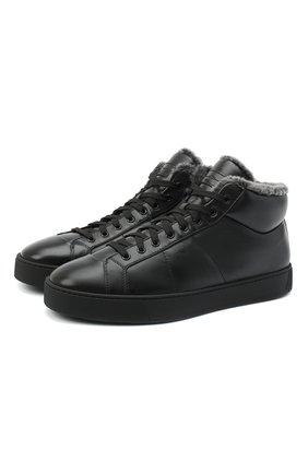 Мужские кожаные кеды SANTONI черного цвета, арт. MBGL20870NE0PSSSN01 | Фото 1
