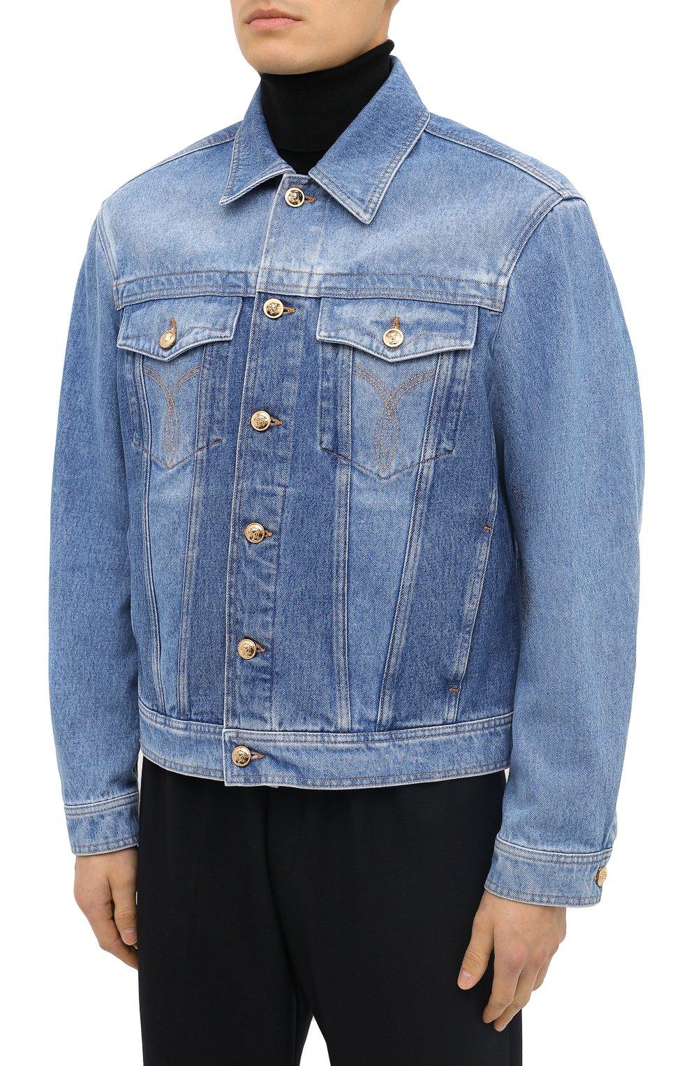 Мужская джинсовая куртка VERSACE синего цвета, арт. A87374/A235957 | Фото 3