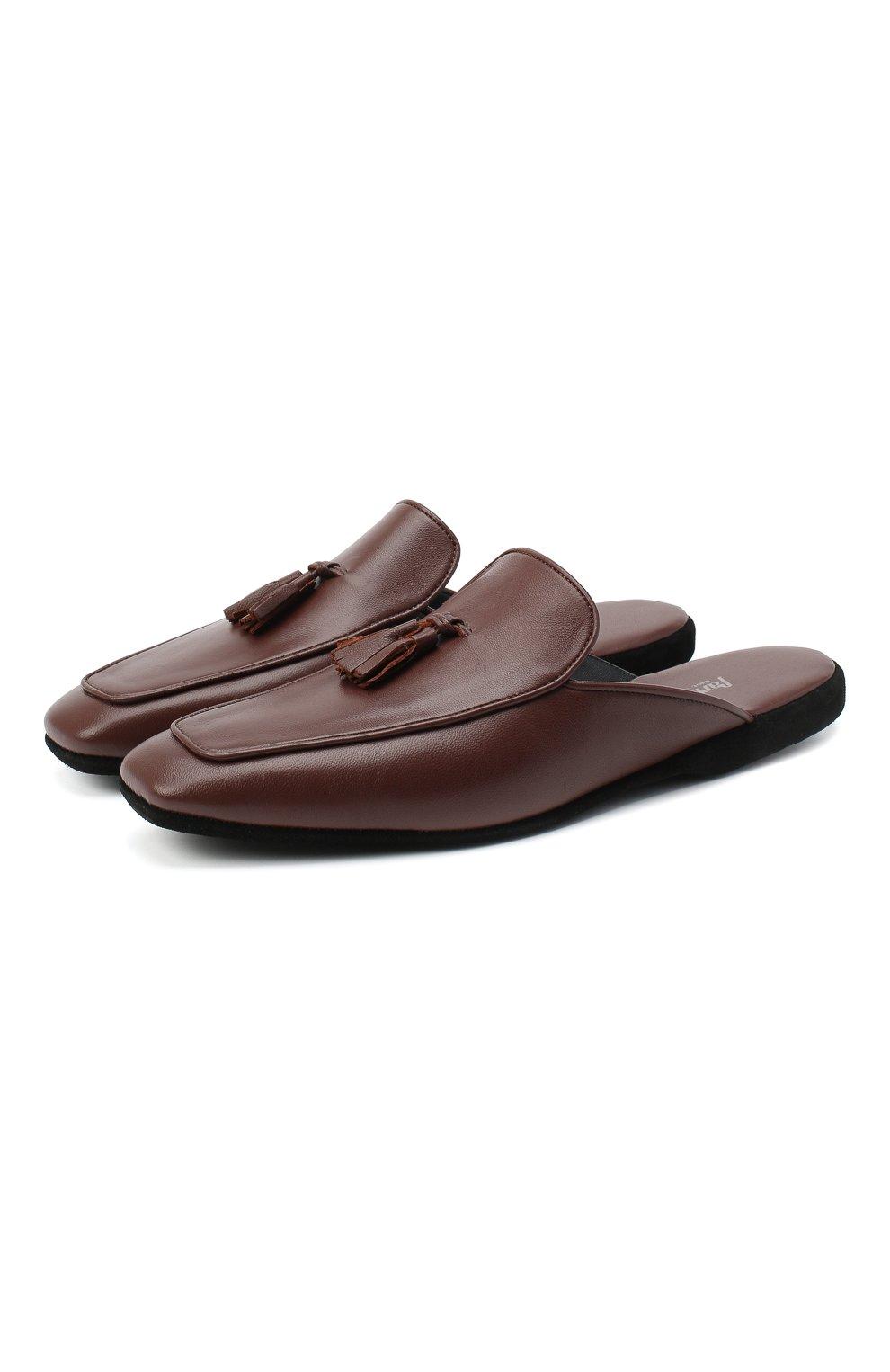 Мужского кожаные домашние туфли FARFALLA коричневого цвета, арт. D5KN   Фото 1 (Материал внутренний: Натуральная кожа; Мужское Кросс-КТ: тапочки-обувь)
