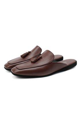 Мужского кожаные домашние туфли FARFALLA коричневого цвета, арт. D5KN | Фото 1
