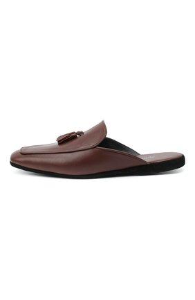 Мужского кожаные домашние туфли FARFALLA коричневого цвета, арт. D5KN   Фото 3 (Материал внутренний: Натуральная кожа; Мужское Кросс-КТ: тапочки-обувь)