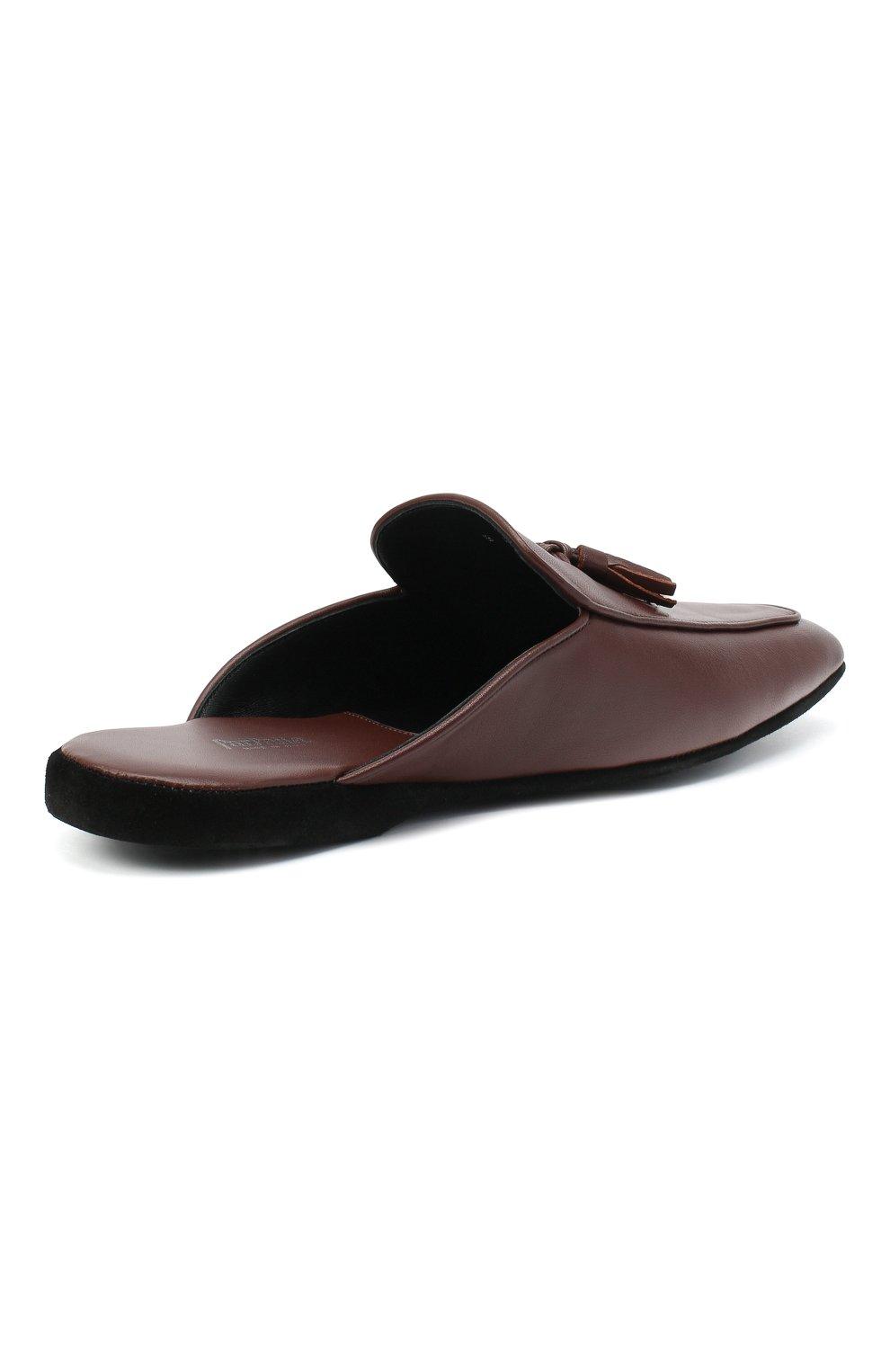 Мужского кожаные домашние туфли FARFALLA коричневого цвета, арт. D5KN   Фото 4 (Материал внутренний: Натуральная кожа; Мужское Кросс-КТ: тапочки-обувь)