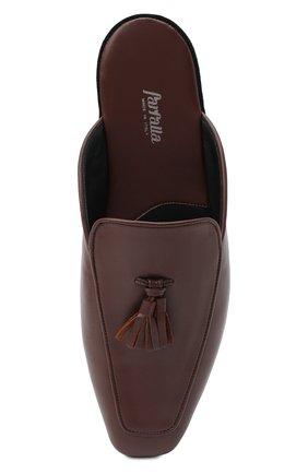 Мужского кожаные домашние туфли FARFALLA коричневого цвета, арт. D5KN   Фото 5 (Материал внутренний: Натуральная кожа; Мужское Кросс-КТ: тапочки-обувь)