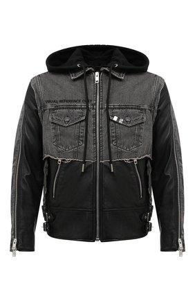 Мужская комбинированная куртка DIESEL черного цвета, арт. A00214/0PAZH | Фото 1
