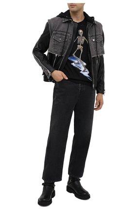 Мужская комбинированная куртка DIESEL черного цвета, арт. A00214/0PAZH | Фото 2