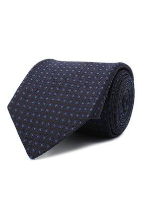 Мужской шелковый галстук LUIGI BORRELLI темно-синего цвета, арт. LC80-B/TT30004 | Фото 1