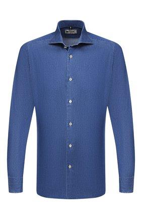 Мужская хлопковая рубашка LUIGI BORRELLI синего цвета, арт. EV08/NAND0/TS30144   Фото 1
