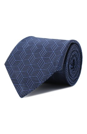 Мужской шелковый галстук LUIGI BORRELLI темно-синего цвета, арт. LC80-B/TT30282 | Фото 1