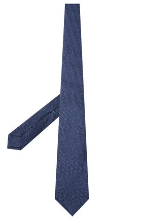 Мужской шелковый галстук LUIGI BORRELLI темно-синего цвета, арт. LC80-B/TT30282 | Фото 2