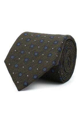 Мужской галстук из шелка и шерсти ERMENEGILDO ZEGNA хаки цвета, арт. Z8E30/18H | Фото 1