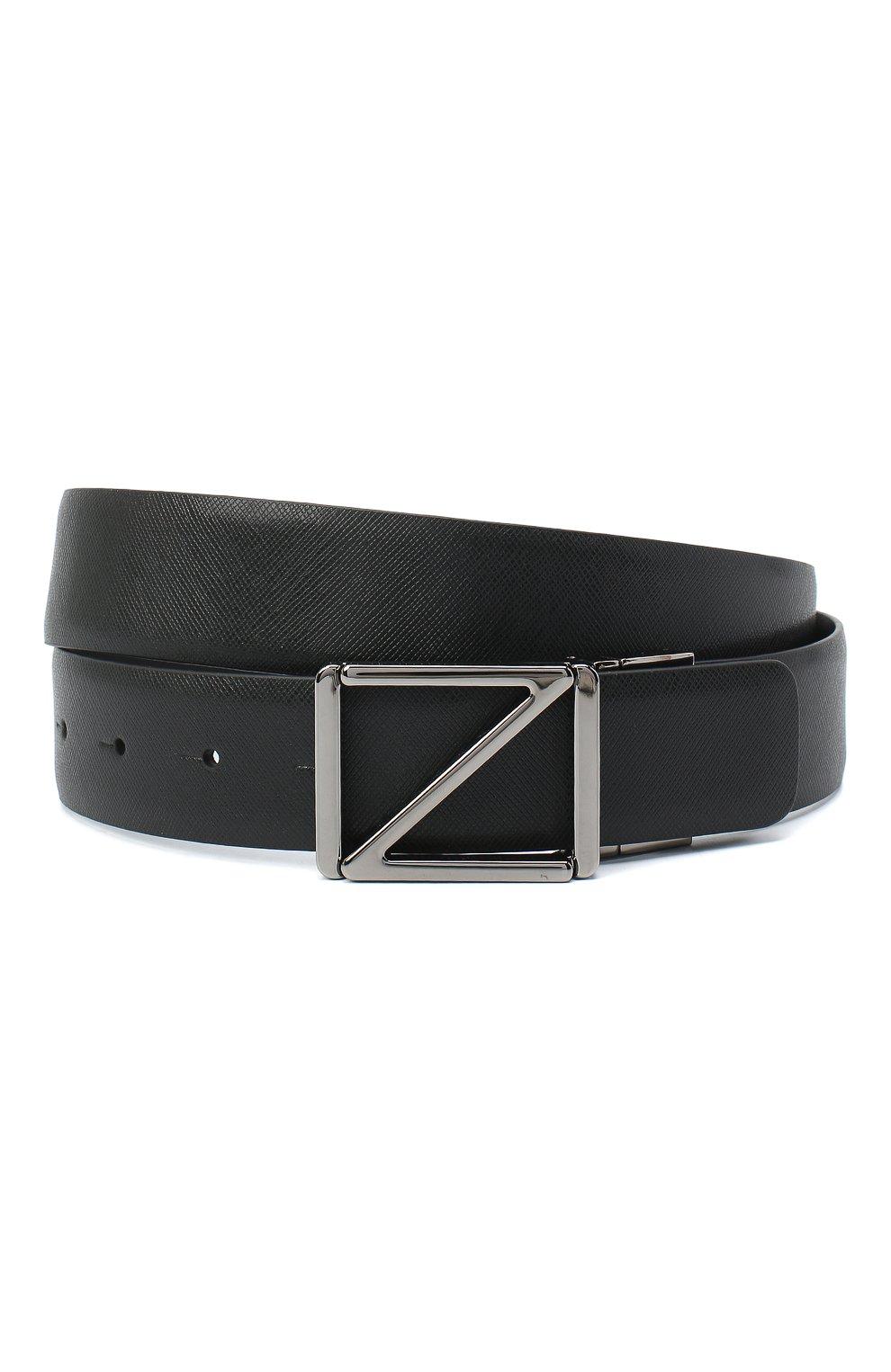 Мужской кожаный ремень Z ZEGNA черного цвета, арт. BSFNA5/603B | Фото 1