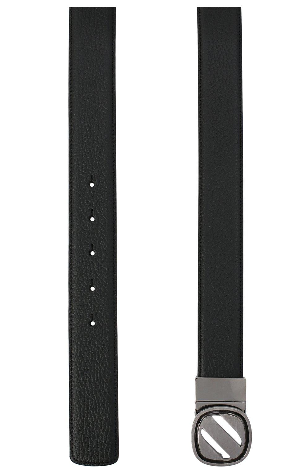 Мужской кожаный ремень ZEGNA COUTURE черного цвета, арт. B1GL1B/J1233A | Фото 2 (Случай: Формальный)