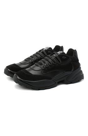 Мужские комбинированные кроссовки SERGIO ROSSI черного цвета, арт. A87740-MFI207 | Фото 1