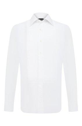 Мужская хлопковая сорочка TOM FORD белого цвета, арт. QFT287/94SIJE | Фото 1 (Длина (для топов): Стандартные; Рукава: Длинные; Материал внешний: Хлопок; Мужское Кросс-КТ: Сорочка-одежда; Принт: Однотонные; Случай: Вечерний; Стили: Классический; Манжеты: На пуговицах; Воротник: Кент)