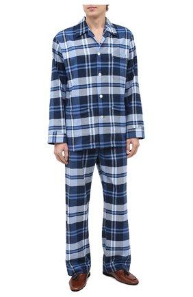 Мужская хлопковая пижама DEREK ROSE темно-синего цвета, арт. 5000-KELB012 | Фото 1
