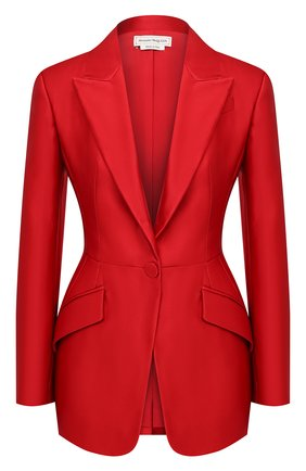 Женский шелковый жакет ALEXANDER MCQUEEN красного цвета, арт. 636289/QBAAW | Фото 1