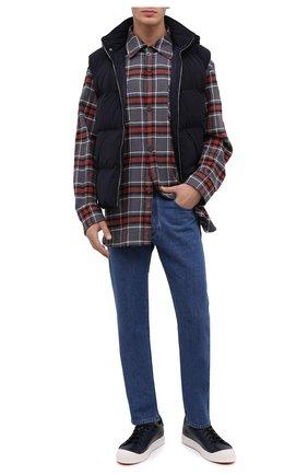 Мужские кожаные кеды SANTONI темно-синего цвета, арт. MBC021383BARRDDDU53 | Фото 2