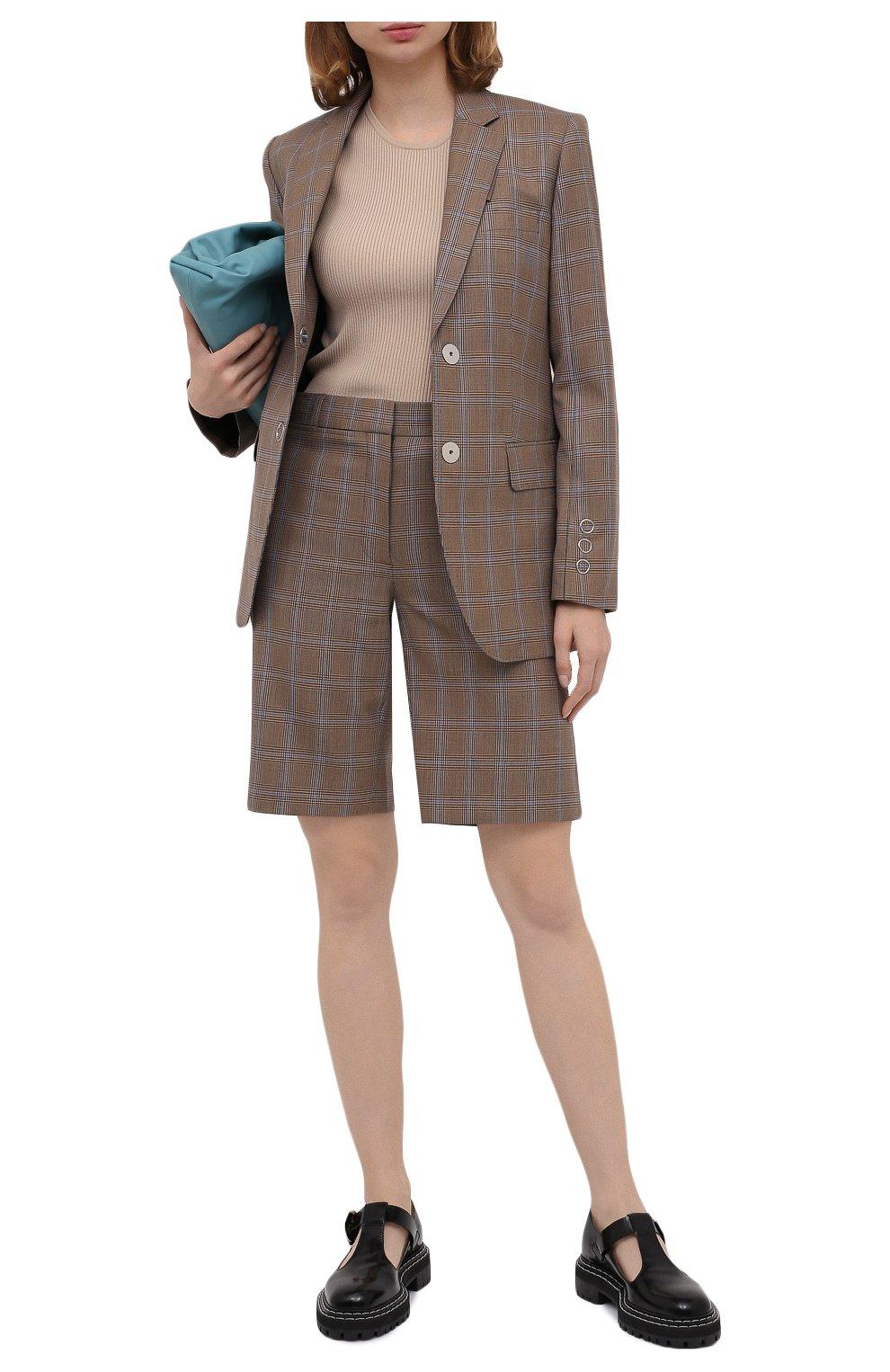 Женские шерстяные шорты BURBERRY коричневого цвета, арт. 8031218   Фото 2 (Женское Кросс-КТ: Шорты-одежда; Материал внешний: Шерсть; Длина Ж (юбки, платья, шорты): Мини; Материал подклада: Купро)